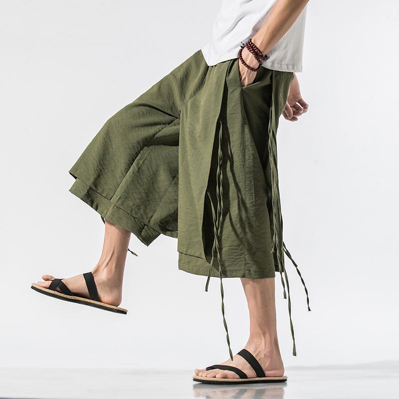 5 Renk Erkekler Yaz Pamuk Keten Gevşek Günlük Buzağı uzunlukta Geniş Bacak Pantolon Erkek Çinli Stil Vintage Streetwear Etek Pantolon