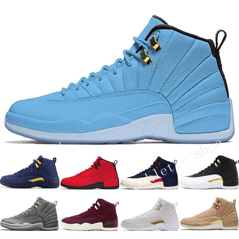 12 12s chaussures de basketball Michigan Bulls College Marine UNC NYC Vachetta Tan Blé Gris Foncé Bordeaux Ailes Le Maître mens baskets