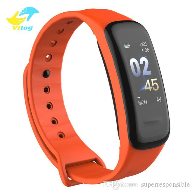 Vitog Fitness Tracker Smart Bracelet C1Plus Color Screen Blood Pressure Heart Rate Monitor Smart Band C1S for Sport watch Android
