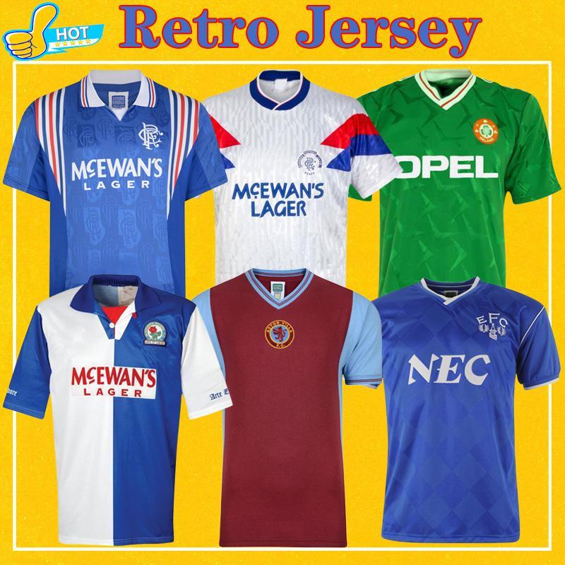 Retro Football Rangers Jersey Glasgow 90 99 Saison Blackburn 94 95 Irlande 1990 Everton 86 87 95 81 82 Aston Villa Retro Football Chemi