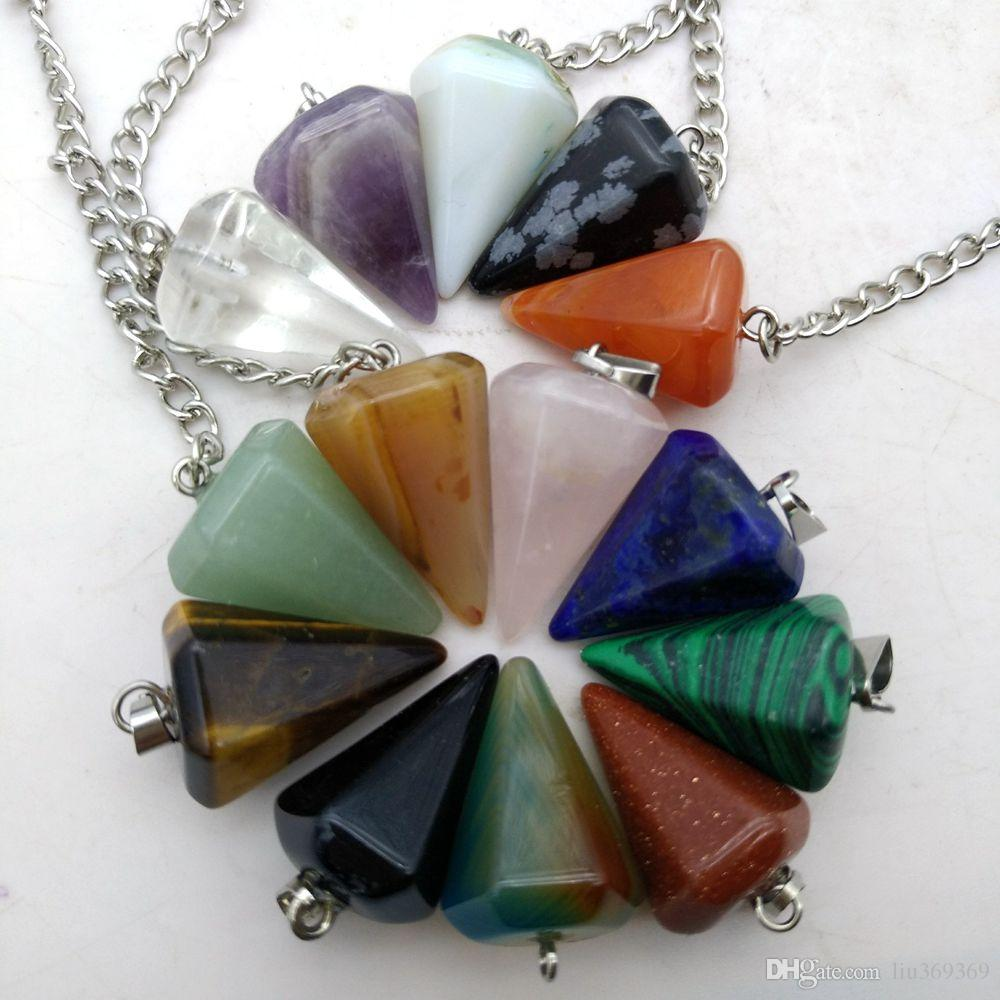 Natursteine Tigerauge Reiki Healing Kristall Anhänger Halskette Frauen Männer Meditation Hexagonal Pendulums Charms Chakra Amulett