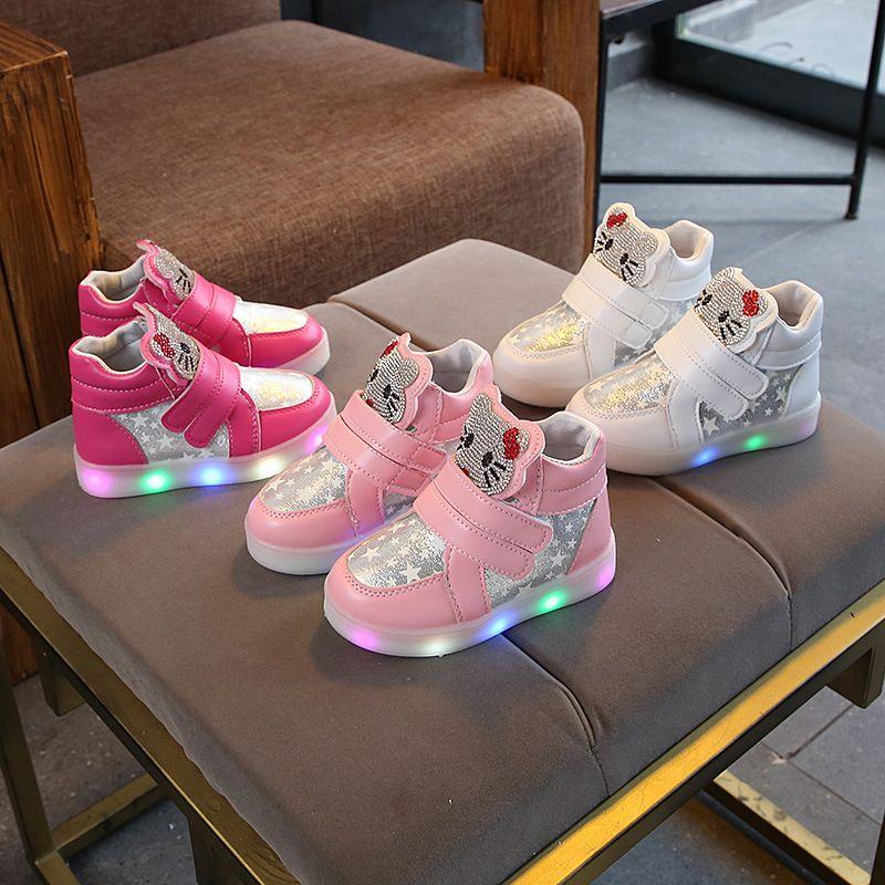 Girls Sneakers Kids Kitty Led Lighting