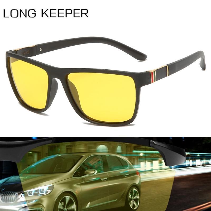 편광 나이트 비전 선글라스 남성 여성 유연한 광장 TR90 태양 안경 노란색 렌즈 자동차 운전 안전 안경 UV400