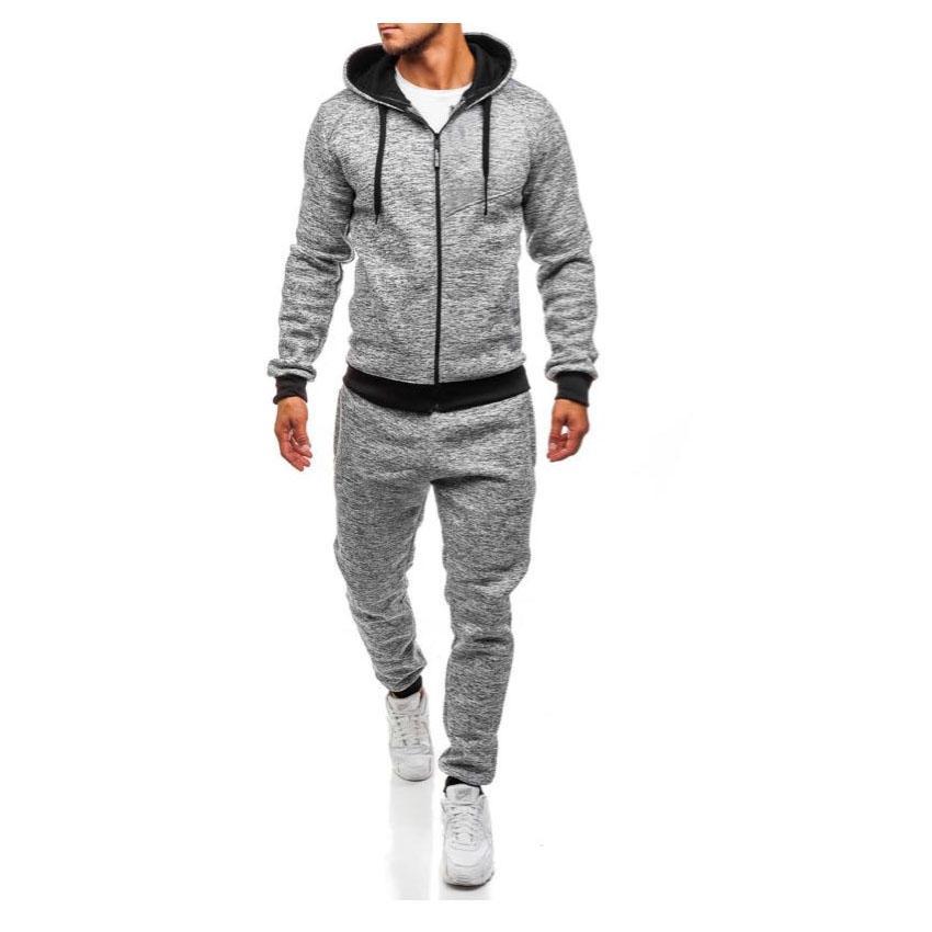 Sonbahar Kış erkek Kapüşonlu Ince Eşofman 2 ADET Setleri Pantolon Spor ve Eğlence Rahat Setleri Nefes Sıcak Satmak Erkekler Kış Giyim