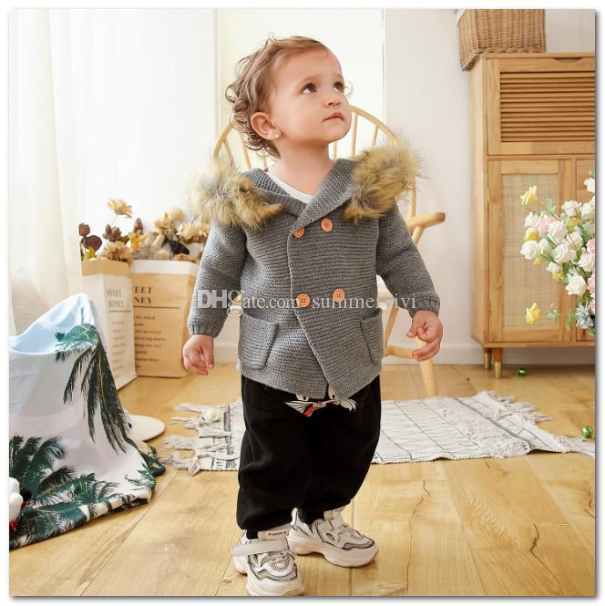 INS Toddler kids sweater cardigan infant boys faux fur hooded long sleeve outwear baby girls double breasted knitted sweater coat J0177
