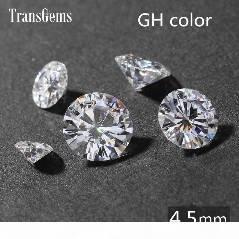 TransGems 0.4ct Carat 4.5mm GH Incolore Cycle Lab Brillant Cut Grown Moissanite diamant test Postive comme vrai diamant