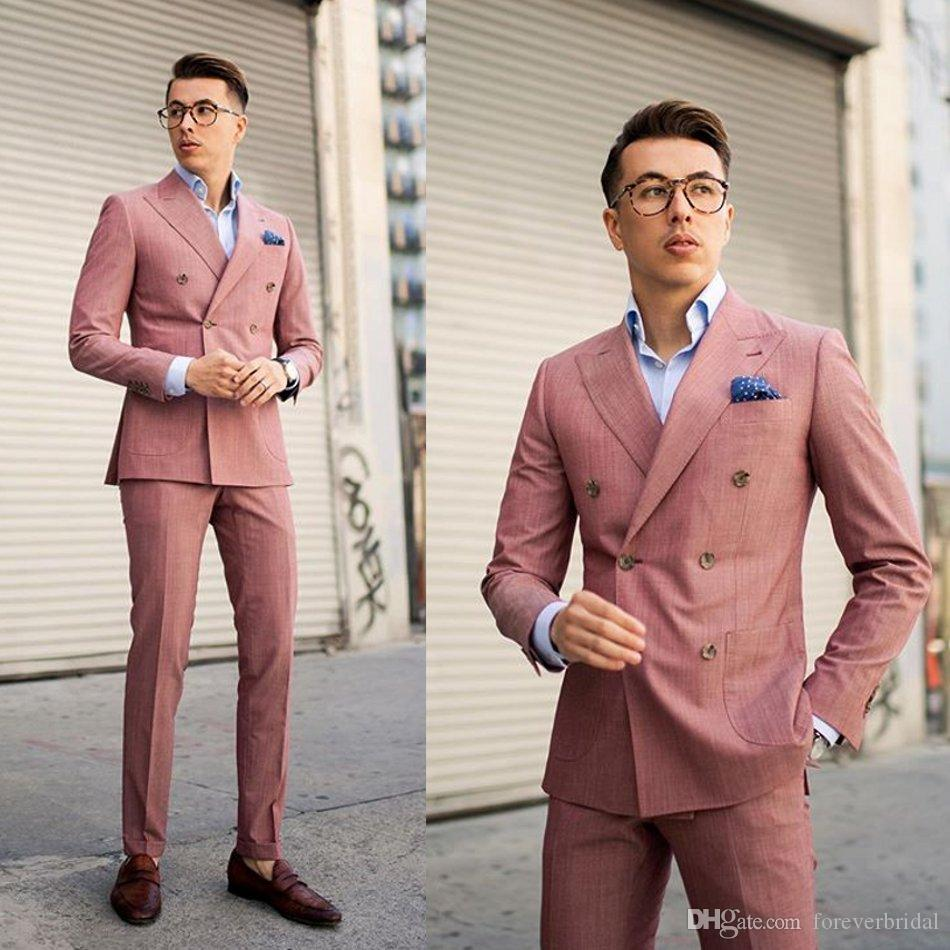 Çift Breasted Damat Düğün Smokin Yaka Handsome Groomsmen Sağdıç Örgün Parti Blazer Suit (Ceket + Pantolon) Peaked