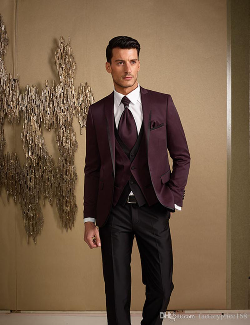 Fashionable One Button Groomsmen Peak Lapel Groom Tuxedos Men Suits Wedding/Prom/Dinner Best Man Blazer(Jacket+Pants+Tie+Vest) 595