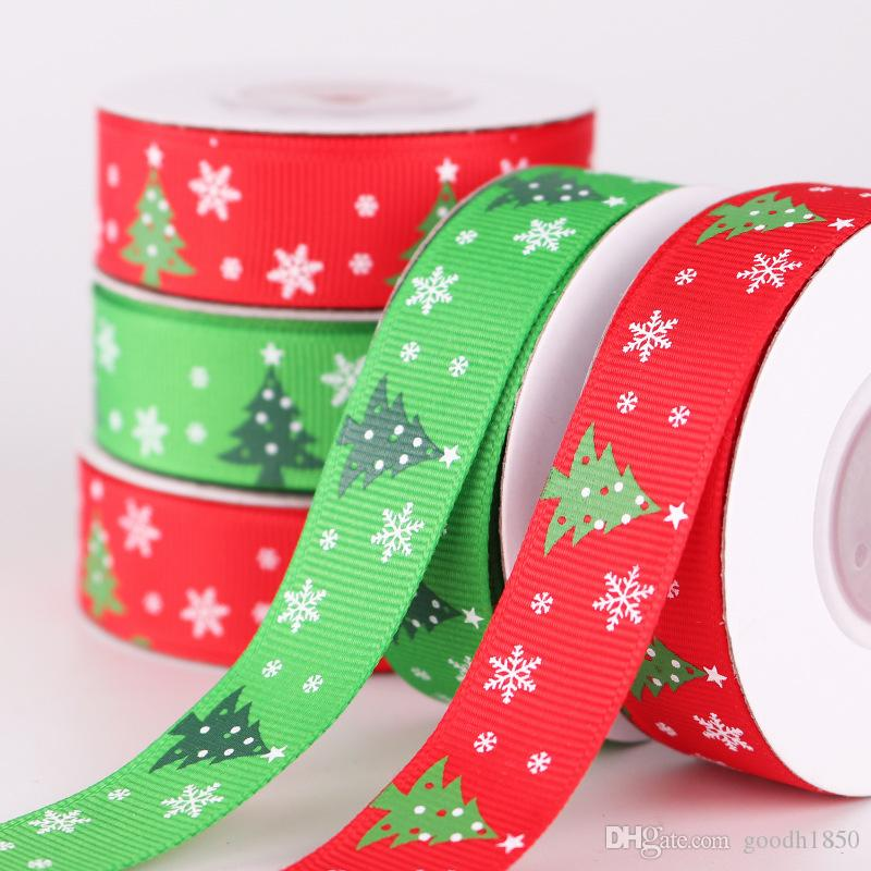 Roll in size 9m x 2.0cm ,5 rolls per bag Xmas Ribbons,Christmas Decorations Belts,Ywo colours Choose,Polyester Thread printing