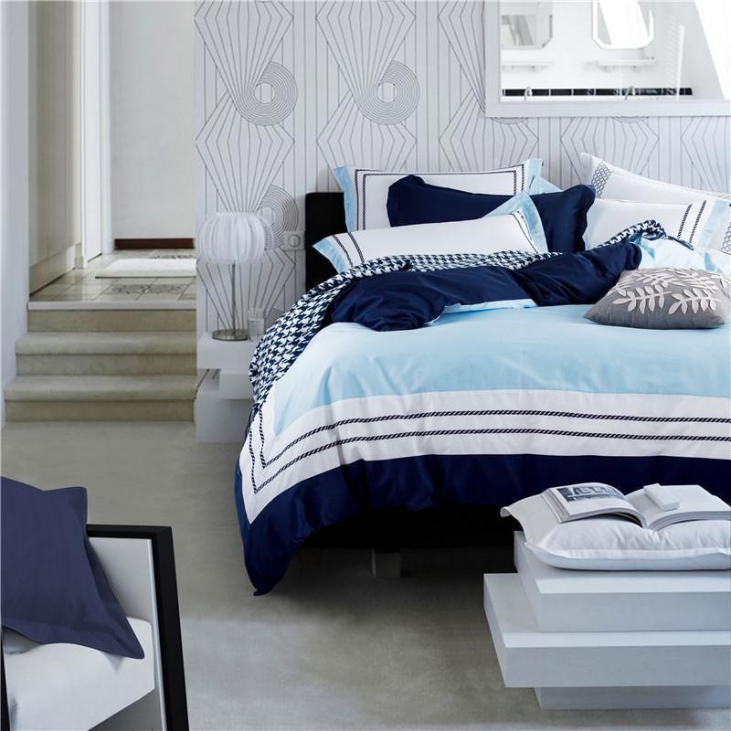 Blue Hotel di colore assestamento set egiziano lenzuola di cotone ricamato lenzuolo stabilito della copertura letto matrimoniale king size piumino set federa T200414