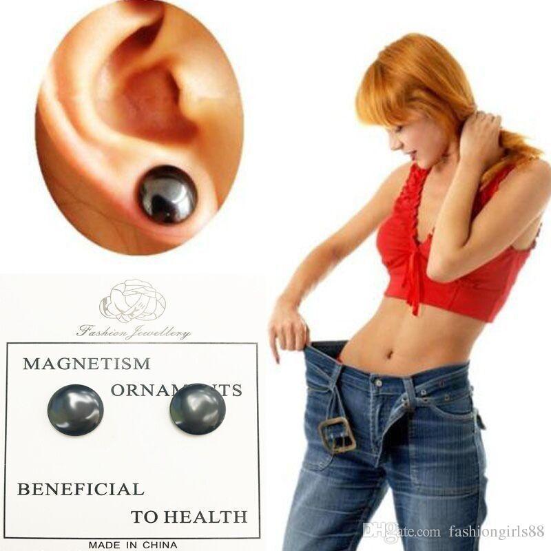 Atacado Simples Acuponto Massagem Preta Meridianos Magnéticos Brincos No Hold Ear Anel Ear Studs Ímã Controle de Emagrecimento Healty Jóias Presentes