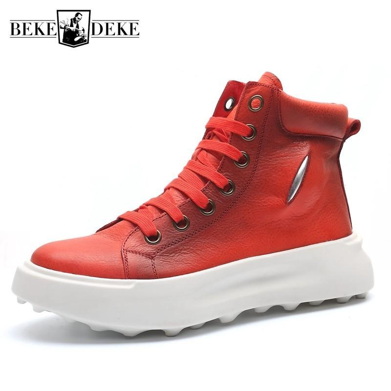 Moda para hombre grueso de la plataforma del top del alto atan para arriba zapatos casual zapatillas de deporte del cuero auténtico Joggers tobillo de los zapatos botas de seguridad de la motocicleta