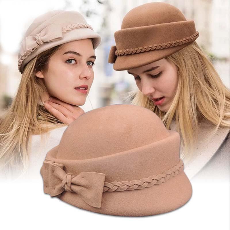 الصوف خمر قبعة الشتاء المرأة القبعات الفرنسية نمط قبعة قبعات كاب لفتاة حلوة هدية