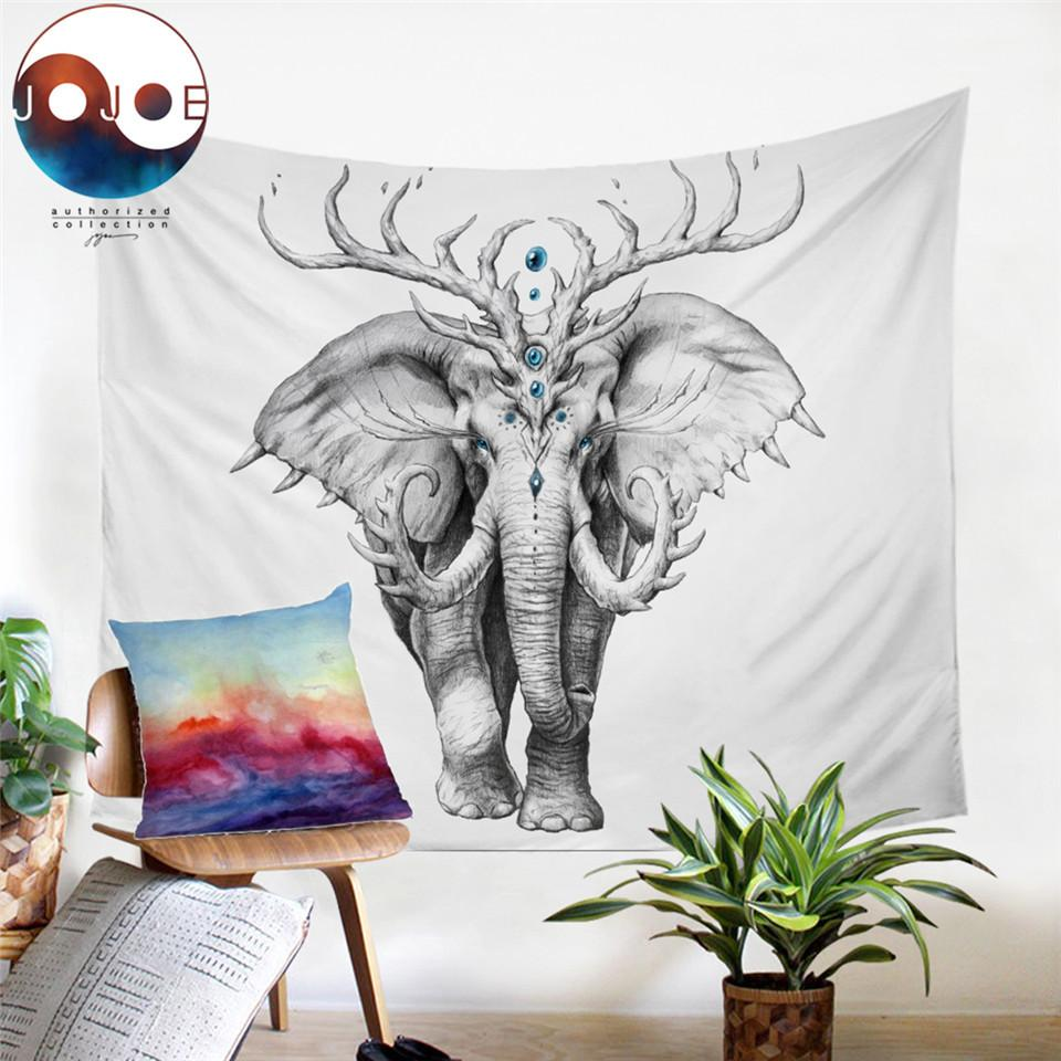 Elephant Soul by JoJoesArt Tapestry Wall Hanging 3D Printed Animal Bed Sheets Black and White Bedding Decorative Tapestry T200601