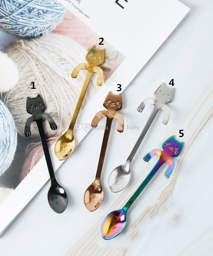 Новая Нержавеющая Сталь Кофе Чайная Ложка Мини Кошка с Длинной Ручкой Творческая Ложка Питьевой Инструменты Кухня Гаджет Посуда Посуда B11