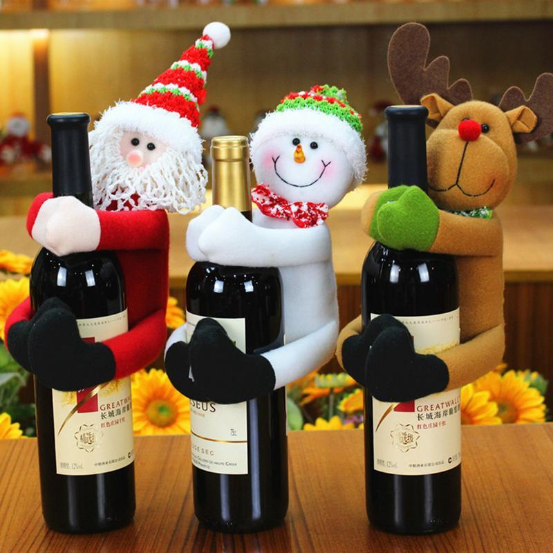 Mignon bouteille rouge vin de vacances Cap de Noël en tissu de cadeau de Noël Père Noël Bonhomme de neige Elk bouteille de vin rouge Cap