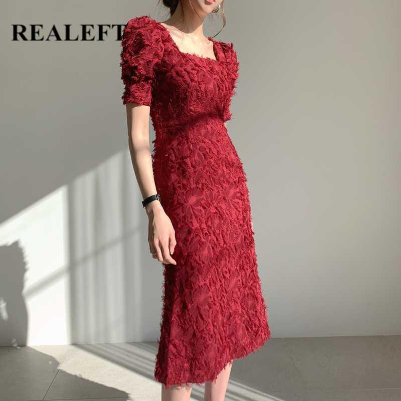 REALEFT 2020 New Summer col carré Tassel femmes Robe fourreau Vintage manches courtes Parti Backless Robes portefeuille femme Robes