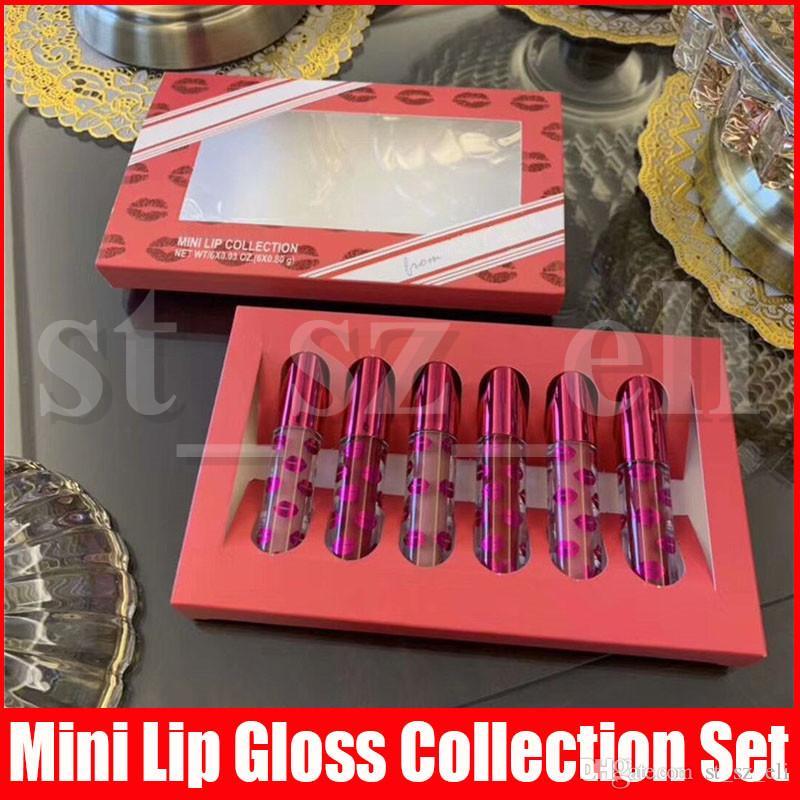새로운 메이크업 미니 립 컬렉션 6 개 색상 매트 리퀴드 립스틱 6PCS / 설정 립 글로스 세트 Lipkit