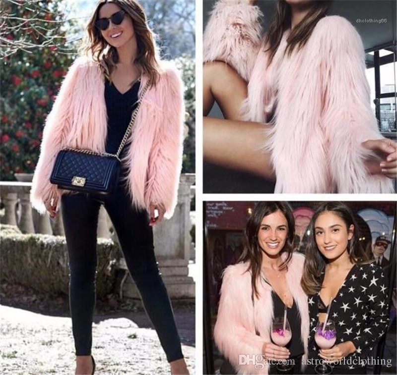 Color Cardigan Long Sleeve Womens Outerwear Loose Sexy Ladies Fur Coats Womens Winter Designer Fur Coat Solid