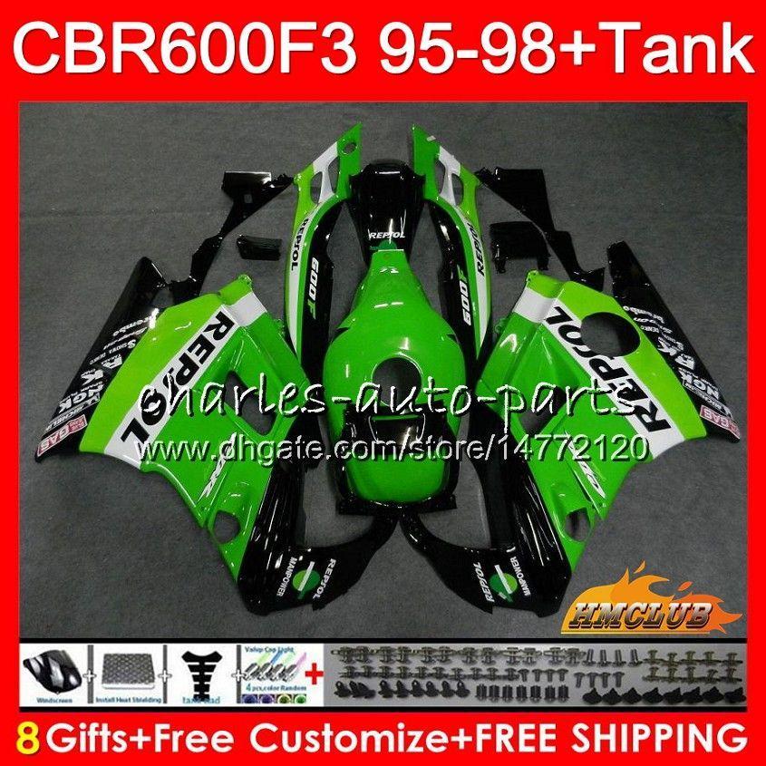 Body+Tank For HONDA CBR600FS CBR 600F3 1995 Repsol green 1996 1997 1998 41HC.32 CBR 600 FS 600CC CBR600 F3 CBR600F3 F3 95 96 97 98 Fairings