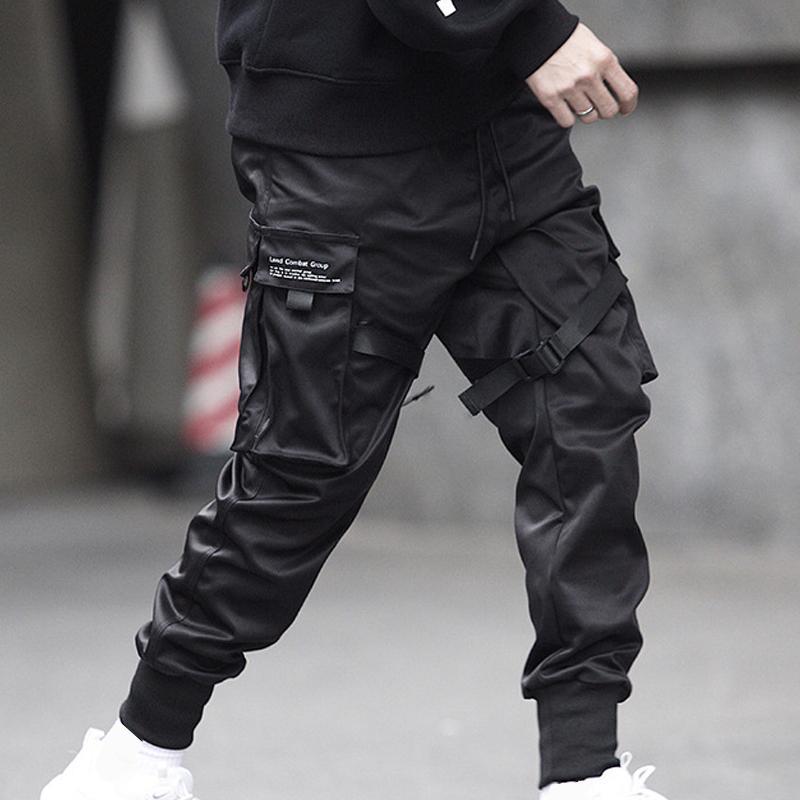 Hip Noir Cool hommes Hop Cargo Pantalons Longueur pleine taille élastique Jogger Pantalons Pantalon à poches Casual Streetwear