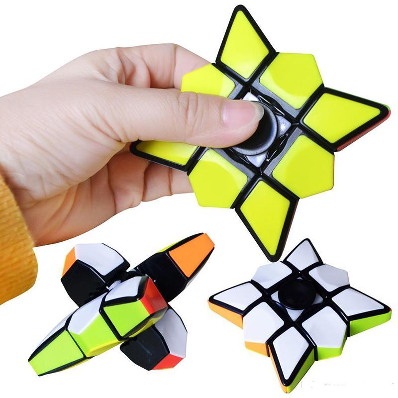 Magic مكعب الاصبع سبينر تململ مكعبات الغزل edc مكافحة الإجهاد دوران المغازل الضغط الجدة اللعب للأطفال البالغين 6.8 × 2.0 سم