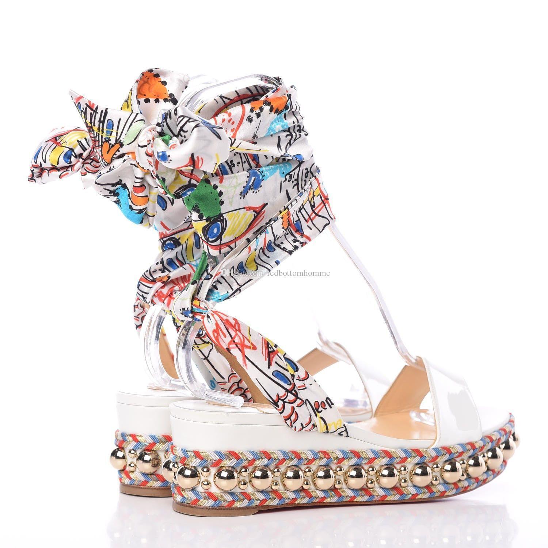 2019SS verão lindo Red inferior levantino 60 milímetros couro envernizado branco Mulheres Wedge Sandal ouro Studs Graffiti com tira no tornozelo Gladiator Sandals