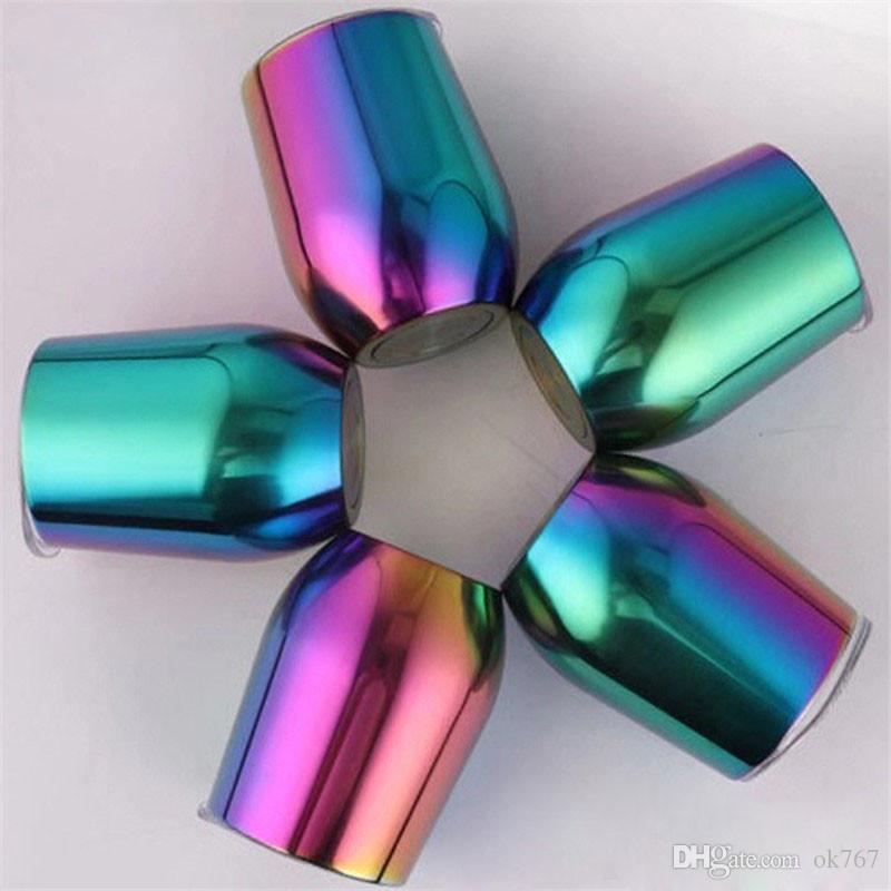 Bicchiere per bottiglia d'acqua in acciaio inox Gradiente Cupole arcobaleno con coperchio tazze da caffè Vuoto isolato Boccale da birra Bicchieri da vino party Portauovo