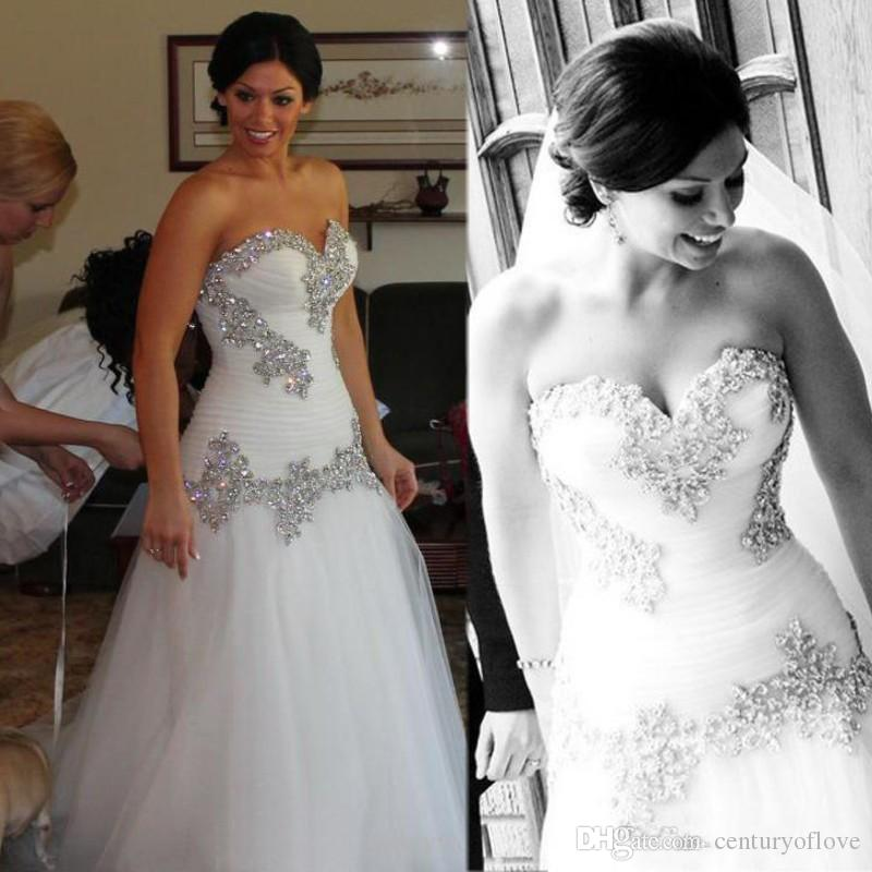 2020 Pnina Tornai Strapless Wedding Dress Vintage A-Line Sweetheart Crystals Tulle Lace Up Back Bridal Dresses Formal Bride Party Gown