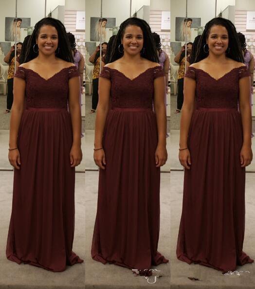 2020 mousseline de soie bordeaux africaine robes de demoiselle d'honneur de l'épaule une ligne de mariage Guest Dresses pas cher de longues robes de demoiselle d'honneur