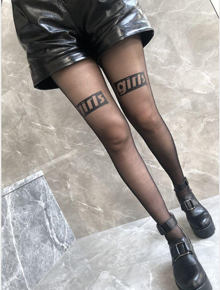 2020 Fashion Women Tights Stocking com letra impressa 20s sexy das mulheres longas Meias Ultra-fino Streetwear Meias 7 estilos de roupas