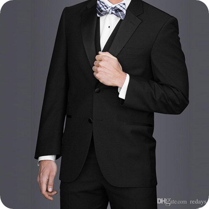 Biçimsel Erkekler Düğün Damat smokin Siyah Erkek Kıyafet Slim Fit Terno Masculino Groomsmen Kıyafet Kostüm Homme 3piece giyisi