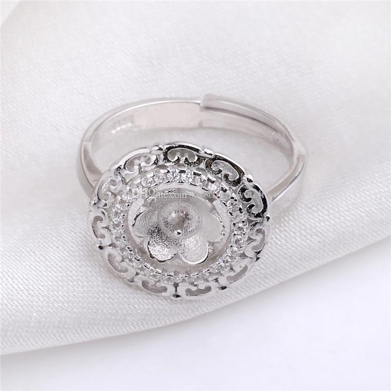 Joyería clásica anillo HOPEARL fija Cabochon semi-terminado montajes perla Accesorios zircones 925 3 Piezas