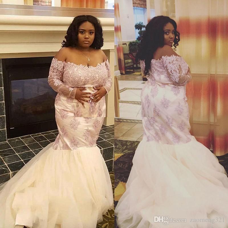 Tamaño 2020S Encaje Plus vestidos de baile con las mangas largas del hombro del cuello con cuentas vestidos de noche del tren del barrido sirena de Tulle del vestido formal