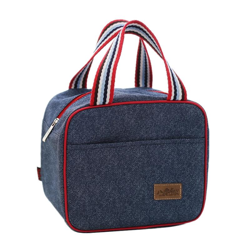 Denim Handbag Lunch Bag Kid Bento Box Insulated Pack Picnic Thermal Ice Cooler Leisure Accessories Supplies Products Stuff