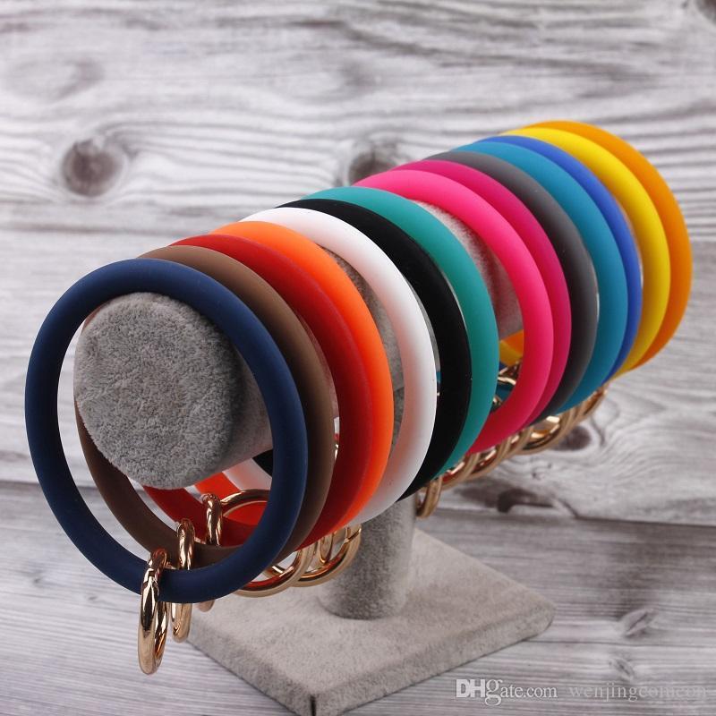Catena silicone tasto O Big O anello portachiavi personalizzato Circle cinturino dell'orologio portachiavi all'ingrosso per il cinturino da polso chiave Donne Portachiavi O