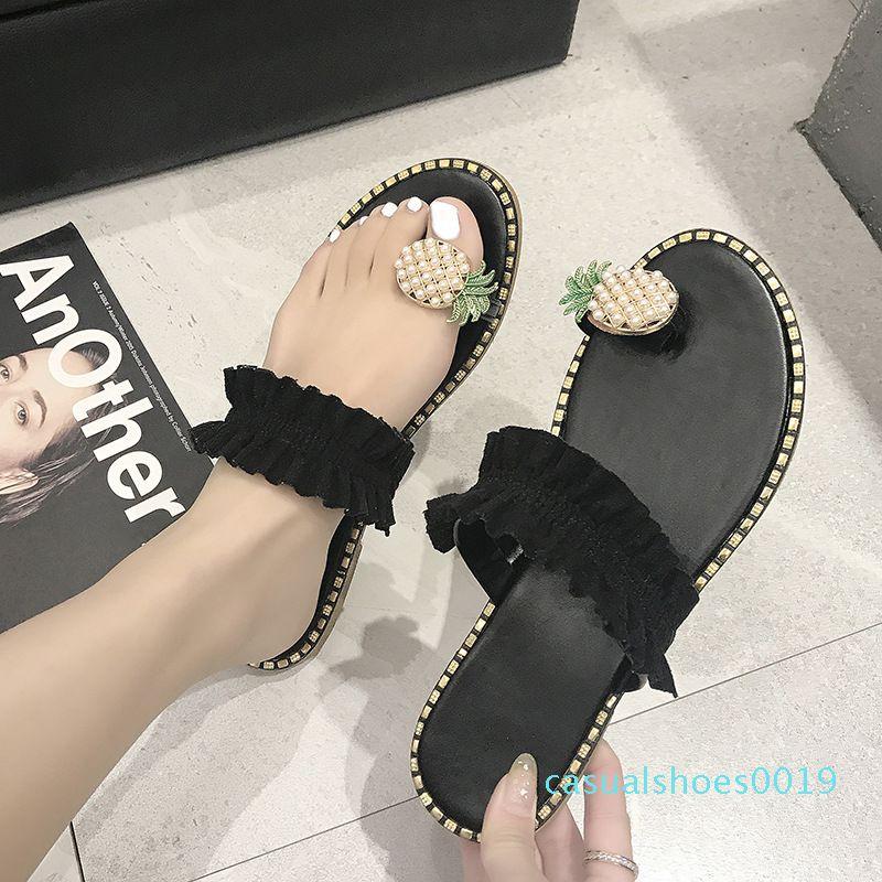 Mulheres Flats Chinelos verão Flip Casual Flops Flores Pérola Mulher sapatos baixos 35-43 além de tamanho confortável c19 Feminino Praia Sandals