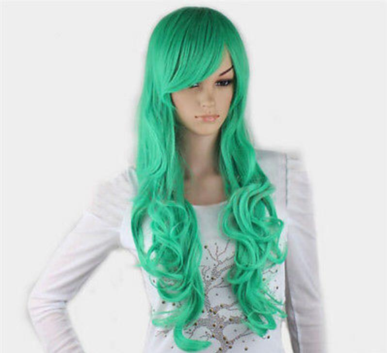 WIG Hot heat resistant Party hair>>>New Cosplay Fashion Show Green Long Curly Women Full Wigs Sexy Cute Wigs