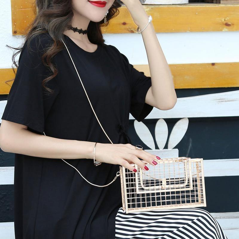 Femme élégante chaîne sac à bandoulière épaule creux en métal d'embrayage Messenger Sacs à main de soirée Embrayages dames Porte-sac à main