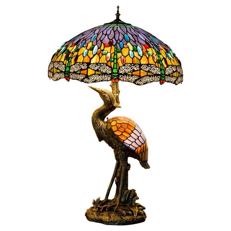 티파니 데스크 램프 바다 파란색 노란색 스테인드 유리 및 크리스탈 구슬 잠자리 스타일 테이블 램프 카페 홈 바 예술 테이블 라이트