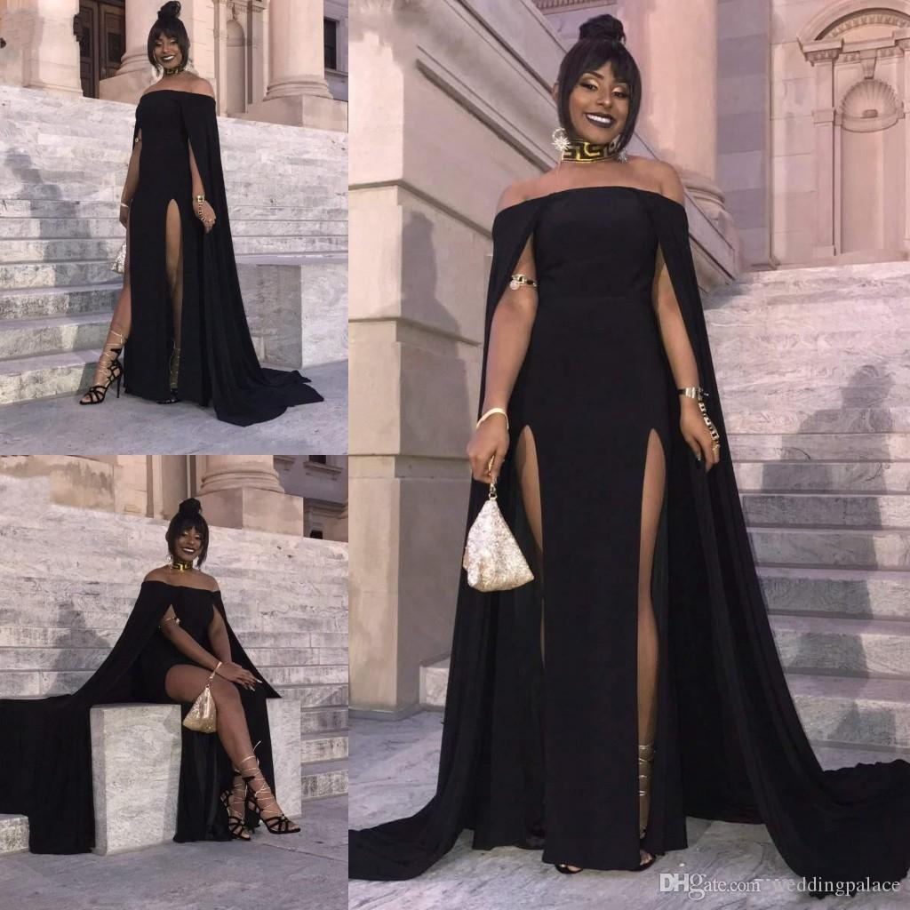 Tapis noir soirée rouge robes noires filles de l'épaule manches gaine robe de bal avec Wrap en mousseline de soie Cheap Prom Party Robes