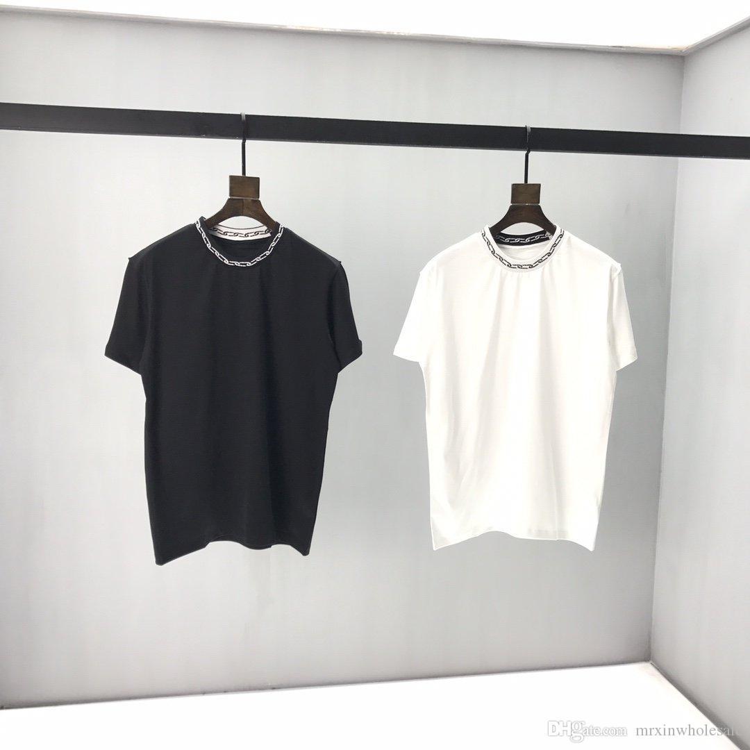 2020 فرنسا أحدث أزياء الربيع والصيف نمط جديد من الحد الأدنى أدنى قميص جودة عالية ملابس رجالية TEE أعلى سميكة من القطن تي شيرت