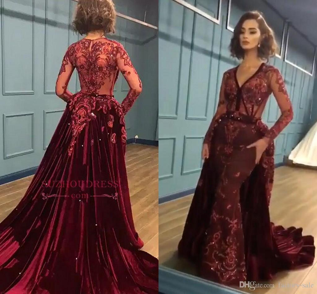 Duabi Arabic 2019 Elegant Burgundy Mermaid Evening Dresses with Long Train Velvet Lace Applique Long Sleeves Party Gowns Eveing Party Wear