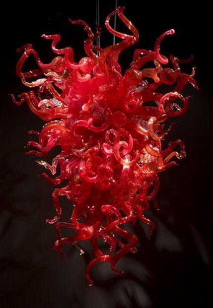 Heißer Verkaufs-hängende Beleuchtung Esszimmer Indoor-Kunst-Dekoration Red Hand Blown Muranoglas Chihuly Stil Kronleuchter