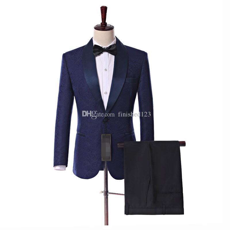Gerçek Resim Yan Havalandırma Bir Düğme Donanma Mavi Paisley Damat Smokin Şal Yaka Groomsmen Düğün Erkek Parti Takım Elbise (Ceket + Pantolon + Kravat) W10