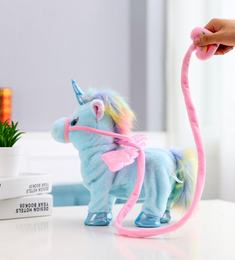 Electric Dance& Sing, Walk& Shake Head, Cute Unicorn with Wing Plush Toy, Cartoon Stuffed Animal, Ornament, for Xmas Kid Birthday Girl Gifts