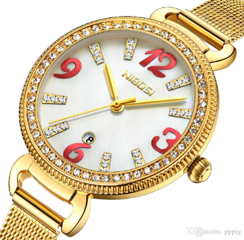 2019 orologio decorativo da donna al quarzo con calendario impermeabile diamante multifunzione impermeabile nuovo orologio da donna europeo e americano