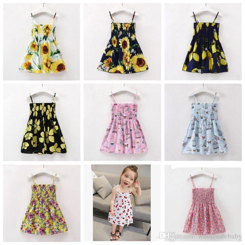 Toddler Girl Outfits Floral Princess Dresses Kids Girl Ruffle Sleeveless Denim Skirt Set for Summer
