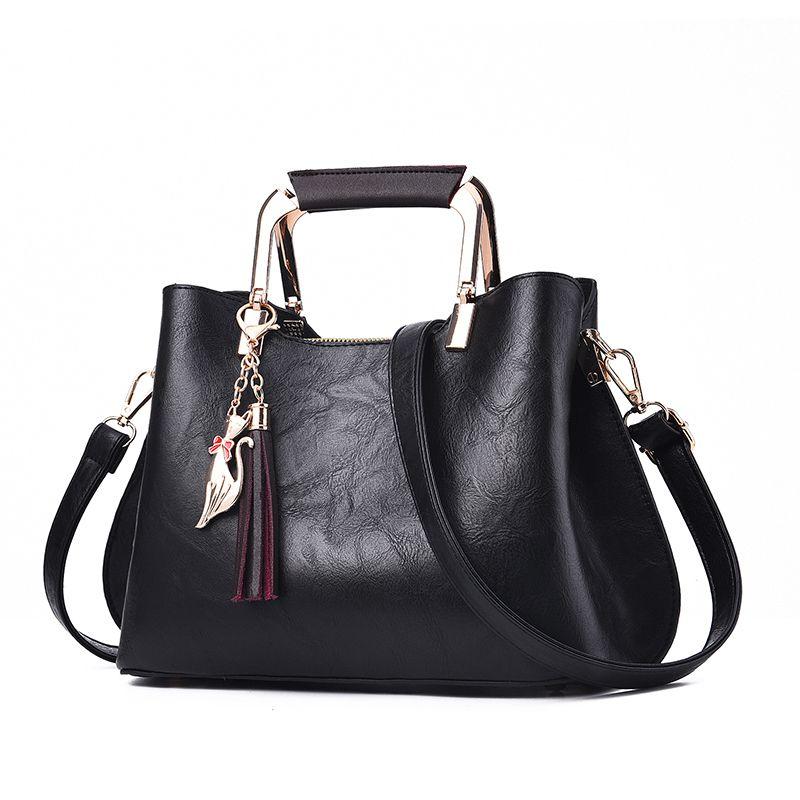 Women Handbags Luxury Designer 2019 Ladies Pu Leather Handbag Messenger New Shoulder Bags Korean Style Tassel Totes Bags Female Y190626