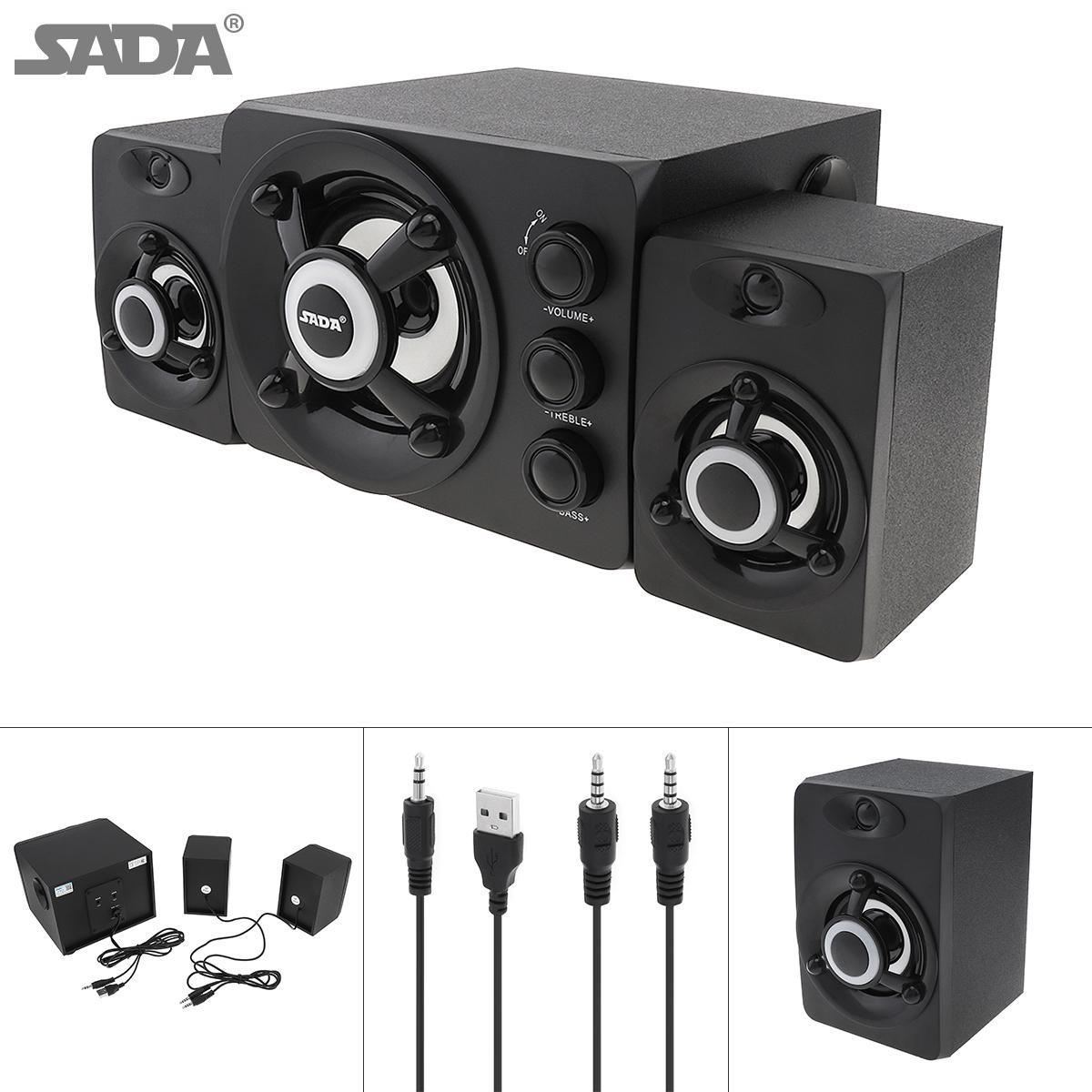 SADA D-208 2.1 Mini Schwarz 3W Holz-3D-Surround-Sound-Subwoofer-Musik-USB-Computer-Lautsprecher mit Leuchtenden Bunten Lampe SSB_10M
